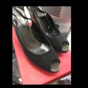Vaneli Verona Black Peek Toe Suede heels
